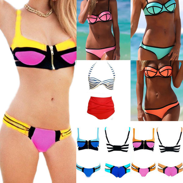 Women's Retro Push Up Padded Bra Zipper Bandage Bikini Swimsuit Bath Swimwear | eBay