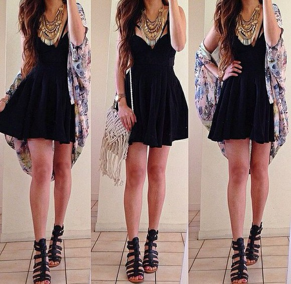 cardigan sandals dress jewels bag