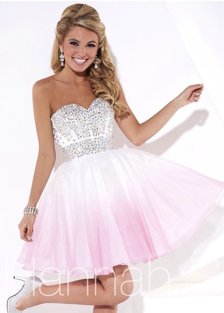 dress, pink and silver, pink, white, sparkle, prom dress, sweet 16 ...