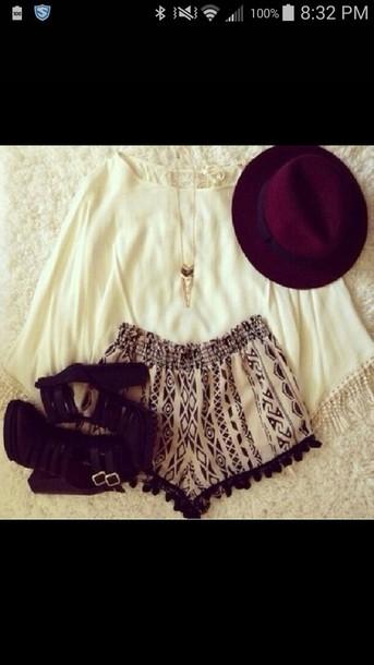 blouse shorts hat