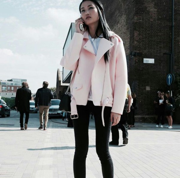 Jacket: on point clothing, neoprene, faux leather, light pink ...