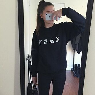 sweater nyct clothing lazy sweatshirt lazy sweater black ootd graphic sweater outfit