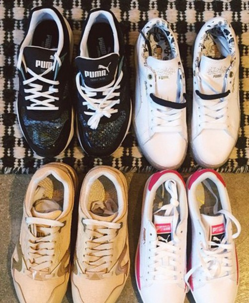 shoes puma sports shoes black white python print