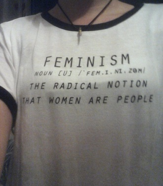 t-shirt feminism black white blck and white definition quote on it