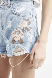 shorts,denim shorts,embroidered