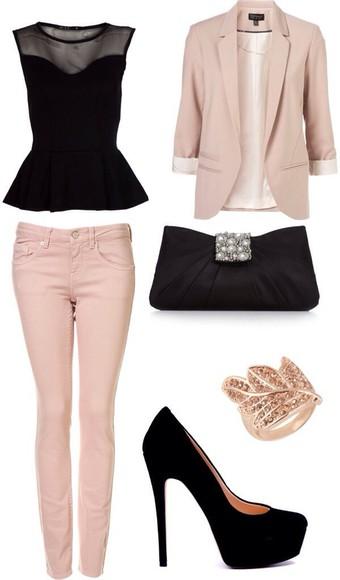 top rose noir chic pantalon noir et rose haut noir pochette bagues chaussures ? talons shirt black shoes jeans coat bag high heels blouse jeens