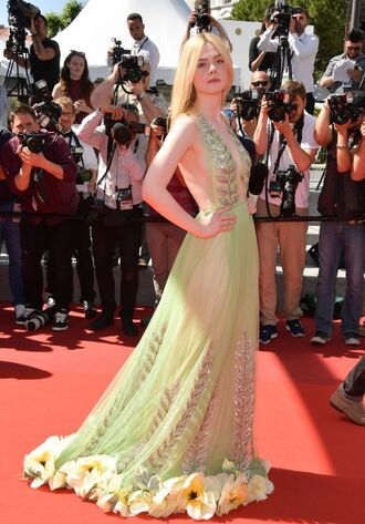 dress prom dress gown red carpet dress elle fanning cannes plunge dress