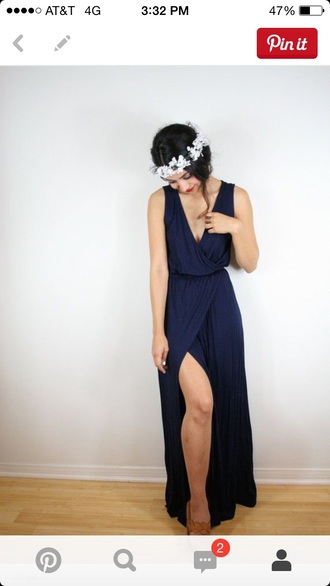 dress navy dress boho bridesmaid maxi dress slit dress