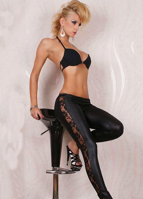 Enchanting Lace Patchwork Black Leggings with Elastic Waist