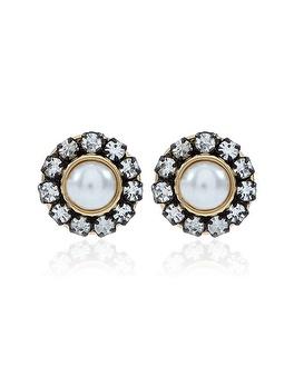 Black market crystal pearl stud earring