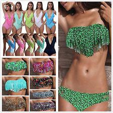 Womens Sexy Tassel PAD Swimwear Monokini Beachwear Tankini Bikini Bathing Suit | eBay