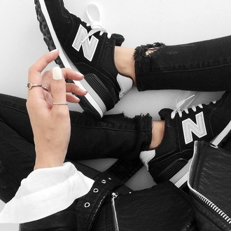 ripped jeans black ripped jeans black jeans new balance black sneakers nails silver ring