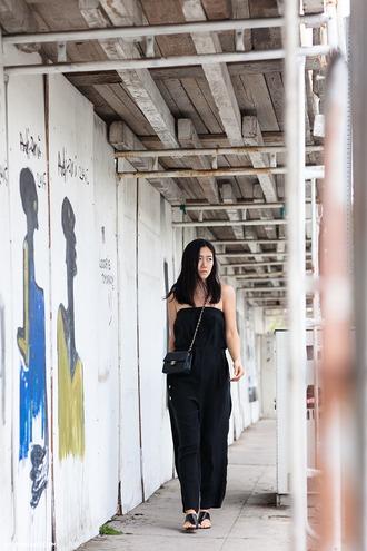 andy heart blogger black jumpsuit chanel bag