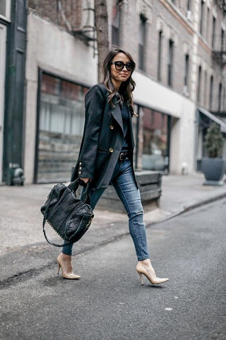 coat blazer black blazer bag jeans denim blue jeans pumps heels high heel pumps pointed toe pumps handbag