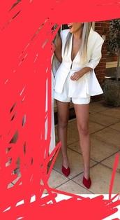 coat,low cut blazer,white blazer and shorts set,co ord set