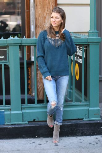 ashlee frazier blogger sweater jeans shoes jewels blue sweater peep toe boots boots winter outfits