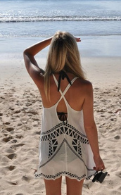 crochet,dress,aztec,boho,summer,top,white dress,bag,cover up,swimwear,sundress,summer dress,summer top,white summer dress,comfy,pretty dress!,beach dress,boho dress,white crochet dress,beach,summer cover rp,open back,short dress,swimwear cover up,swim cover,boho chic,criss cross,open back dresses,hippie,hippie chic,hippie dress