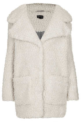 Longline Borg Coat - Sale & Offers - Topshop