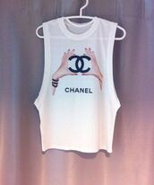 shirt,chanel,cutoff shirt,tights,tank top,cut out shoulder,chanel t-shirt,hands,style,top,white top,t-shirt chanel,women,chic,luxury,t-shirt,cut offs,white,white coco channel top,cigarette,chanel top,dress,slit dress,gown,prom dress,maria menounos,sandals,sandal heels