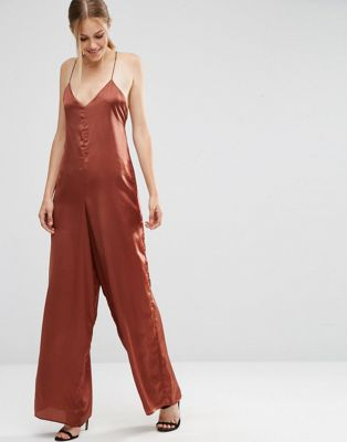 ASOS Cami Satin Jumpsuit With Wide Leg at asos.com