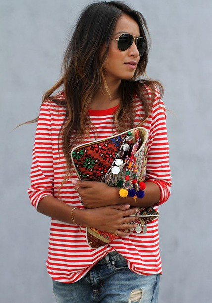 sweater stripes navy red bag