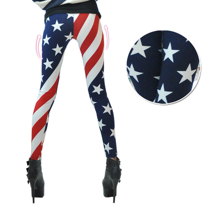 Fashion women american flag stripe star print leggings lady summer skinny cropped jeans free shipping