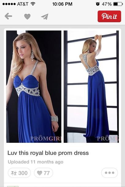 dress blue beaded cut out back prom dress