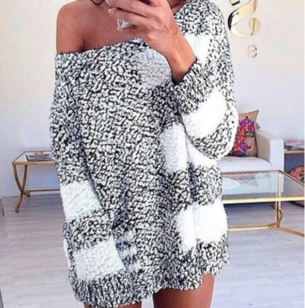 Sweater Oversized Sweater Oversized Knit Knitwear Hoodie Off
