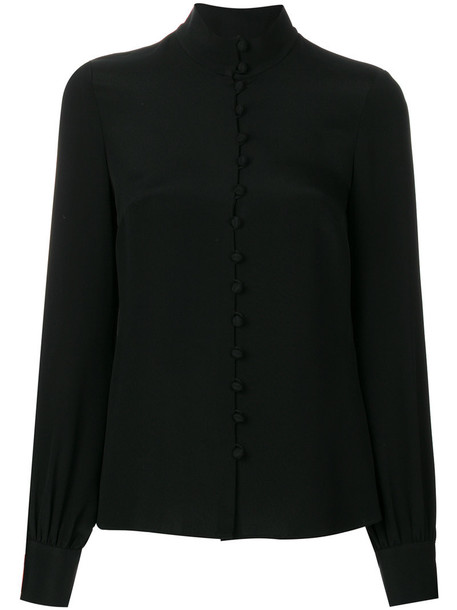 Goat shirt women fleur black silk top
