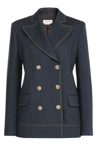 blazer denim double breasted blue jacket