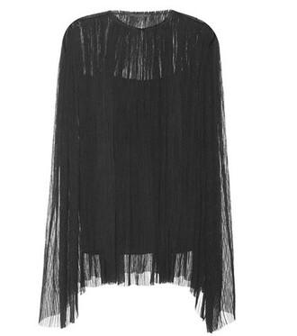 top pleated silk black