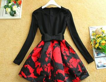 Pretty cute bow long sleeve flower ..