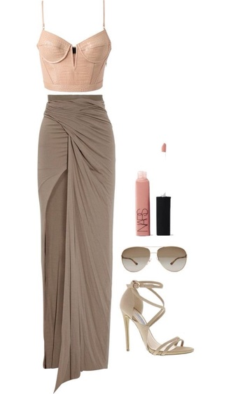 skirt maxi elegant sophisticated dress up neutral style party shirt top shoes