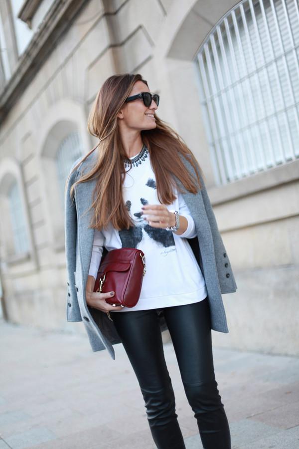 b a r t a b a c sweater coat pants jewels bag sunglasses shoes
