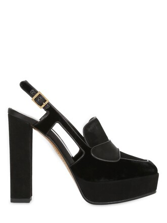 pumps suede velvet black shoes