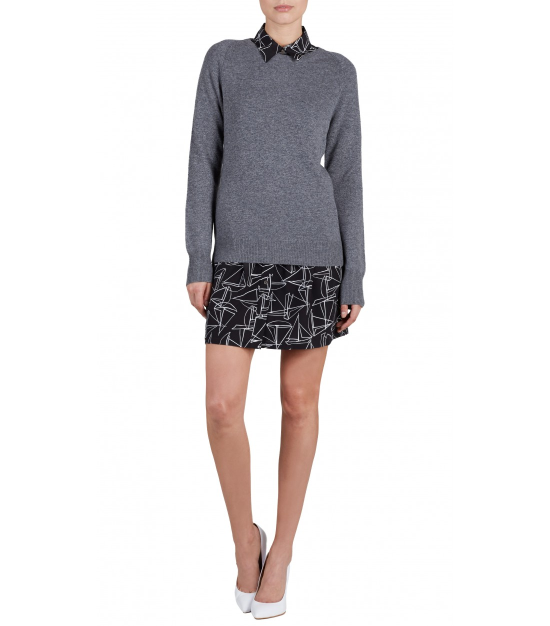 EQUIPMENT Sloane Crewneck Heather Grey | Women's Cashmere Sweater