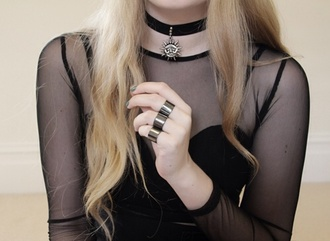 jewels ring silver 3 set shirt goth hipster goth gothic lolita