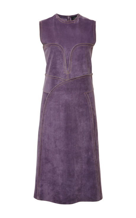Suede sleeveless layered shift dress by derek lam