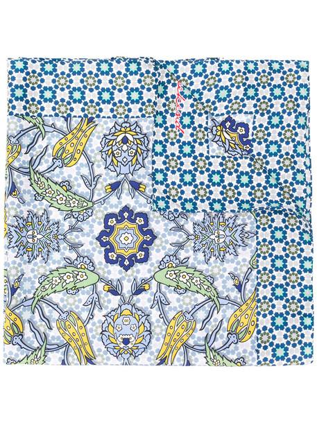 WEEKEND BY MAX MARA tassel women scarf print blue silk