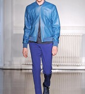 jacket,blue jacket,blue jeans,shoes,leather jacket,menswear,all blue,office outfits