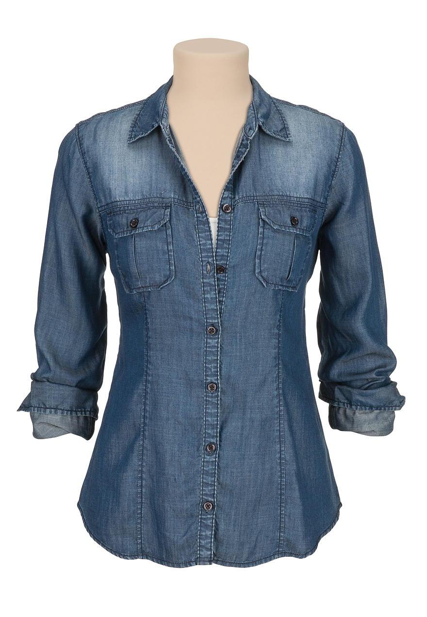 dark wash drape button down denim shirt