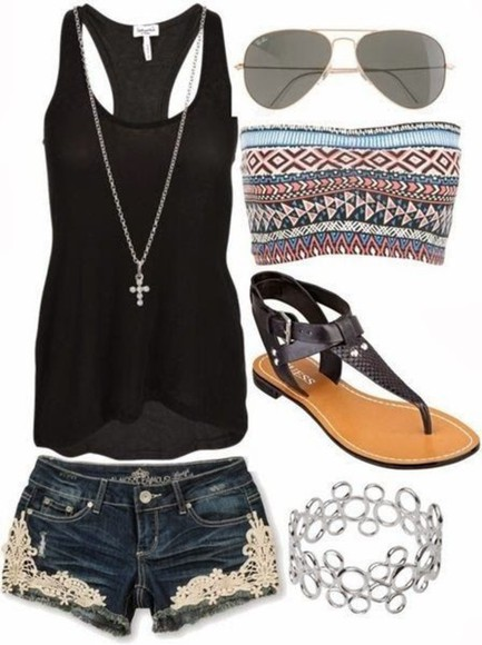 clothes top shorts bandeau top