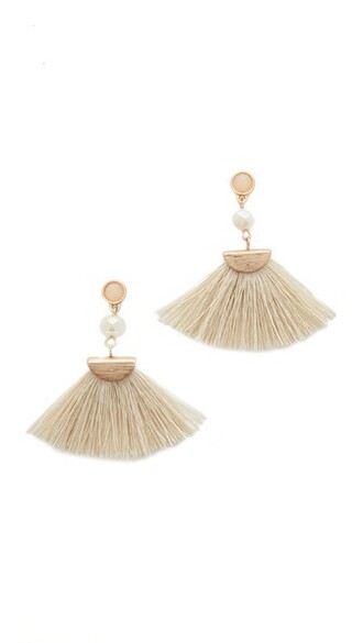 tassel earrings white jewels