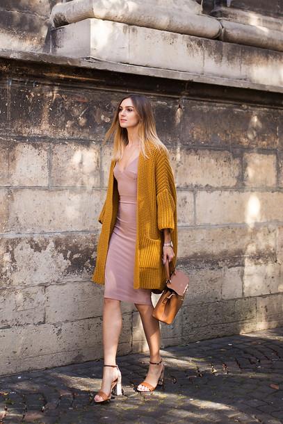 fashion agony blogger cardigan dress shoes bag jewels nude dress bodycon dress high heel sandals sandals