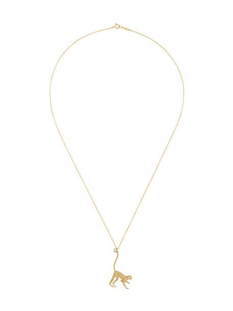 Marc Alary mini women monkey pendant gold grey metallic jewels