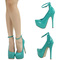 Sea green mary jane ankle strap high heel platform stiletto pump sandal us sz8 5