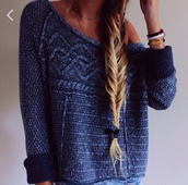 hairstyles,heavy knit jumper,cozy,sweater,knitwear,knitted sweater,dark blue,fall sweater,winter sweater,fall outfits,pullover,casual,cosy sweaters,blue pullover,girly,blue,pattern,cozy sweater,wool sweater,jumper,fashion,style,denim,jeans,blue sweater,blue knitted sweater,grey sweater,warm sweater,navy blue sweater,oversized sweater,dark bue,winter outfits,sweater weather