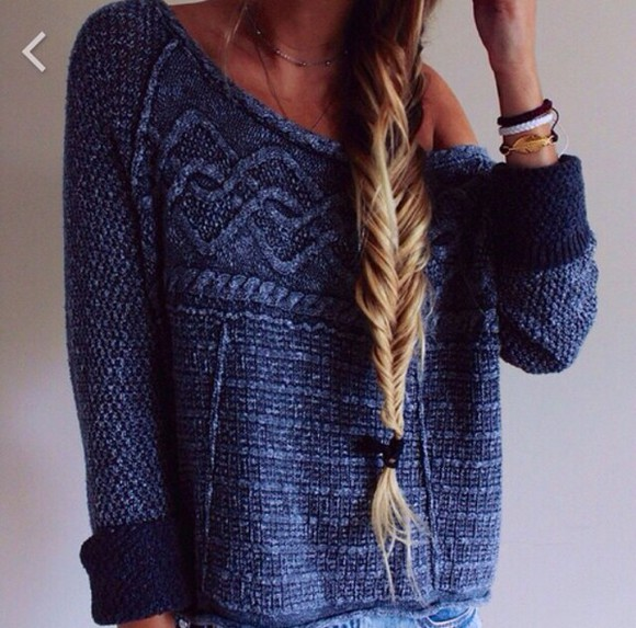 sweater braided blue wool sweater loose fit sweater blue sweater blue knitted sweater cozy patter blue shirt pullover swether style casual blue dress jumpsuit hunger jumper winter sweater hot girly girl jumper pattern patterned sweater cozy sweater 2014 winter outfits grey sweater jeans plz