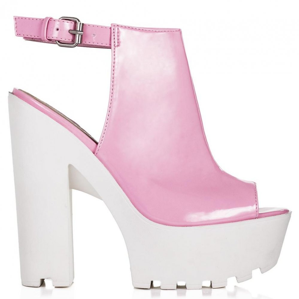 JORCA Block Heel Cleated Sole Platform Shoes Pink Patent Online
