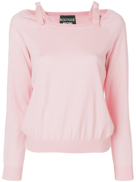 BOUTIQUE MOSCHINO top bow women cotton wool purple pink